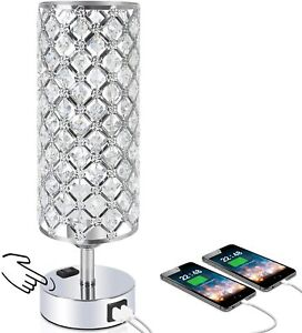 Touch Control LED Crystal Table Desk Lamp Dual Fast Quick USB Charging Ports