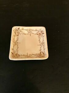 Antique Brown Transfer Ware Butter Pat Square Plate