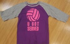 Xersion Girls 18.5 Plus Purple Gray Baseball Style Shirt Volleyball Euc