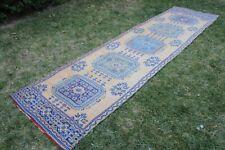 "Vintage Handmade Turkish Anatolian Runner Rug 11'4""x3'1"""