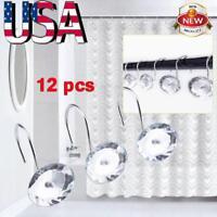 12 Pcs Decorative Rolling Shower Curtain Hooks Crystal Rhinestones Bath Bathroom