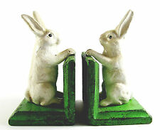 Rabbit Bookends - Cast Iron Aged Appearance Bunnies