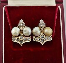 Pearl Yellow Gold Earrings Victorian Fine Jewellery