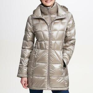 ANDREW MARC Women's Long Packable Jacket Coat Thistle Size L