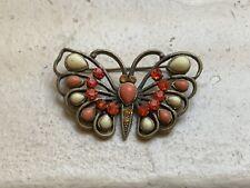 Vintage Jewelry Enamel Rhinestone Butterfly BROOCH PIN Sparkler!
