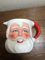 "Vintage Smiling SANTA CLAUS 5.5"" Ceramic Pitcher  ROSY CHEEKS Happy Eyes"
