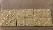 S/3 POTTERY BARN STAMPED IVORY METAL TILES NEW READ MINOR SCRATCHES