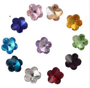 100PCS Mixed Colors Pointed Plum Flower Fancy Glass Stones#95617