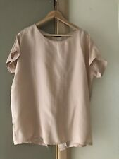 Gorgeous FATE Nude Pink Silk Oversized Blouse Sz 10 EUC