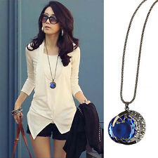 Blue Moon Rhinestone Pendant Long Chain Necklace Women Girl Fashion Jewelry HOT
