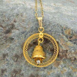 "1/20 12k Yellow Gold Filled Estate Aquamarine Swinging Bell Necklace 18"" Long"