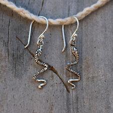 Snake Earrings 925 Sterling Silver BRAND NEW Snake Flute Dangle Earrings