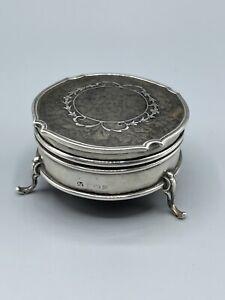 Art Deco 1926 Solid Silver Trinket Box With W/Pique Work Albert Carter 50g