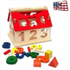 Wooden Digital Number House DIY Building Toys Baby Kids Educational Toy Gifts US