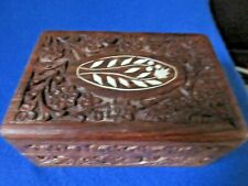 Hand Carved Wooden Jewelry Trinket Box Made in India