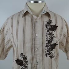 English Laundry Embroidered Button Shirt Hand Sewn Mens Size XL Stripes