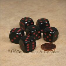 NEW 6 Black with Red Pips ROUNDED EDGE Dice Set RPG D&D Game 16mm 5/8 inch D6