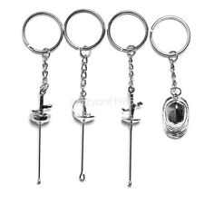 Set of 4 Fencing Hanging Keychain Mask Foil Epee Sabre Ornament Pendent Souvenir