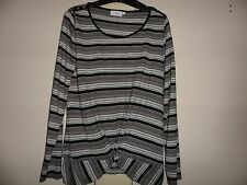 CC longsleeved black & white striped top size M button detail on shoulders new