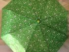 NEW SAGE  EMILY LIME GREEN WHITE LEAF FLOWER COMPACT TRAVEL UMBRELLA AUTO OPEN