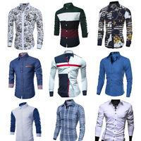 Fashion Men's Luxury Stylish Slim Fit Shirt Long Sleeve Casual Dress Shirt Tops