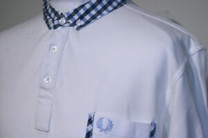 Fred Perry Gingham Trim Polo Shirt - XXL/2XL - White/Blue - Button-Down Mod Top