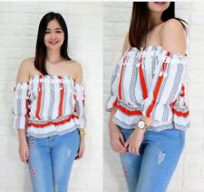 OFFSHOULDER 3/4 BLOUSE (RC)  - WHITE/RED/GRAY STRIPES