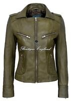 0'RIDER' Ladies Olive Green Biker Style Soft Real Lamb Leather Jacket 9823