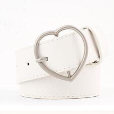 Women Waist Belt Vintage Waistband Faux Leather Decorative Heart Shaped Buckle