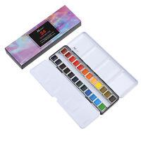 MEEDEN Art Watercolor Tin Palette Paint Set with 24 Colors Half Pan Paints NEW
