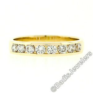 Classic 14k Gold 0.50ctw 8 Channel Set Round Brilliant Diamond Wedding Band Ring