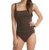 Calvin Klein Pleated Front One-Piece Swimsuit Sz 8 Chocolate New