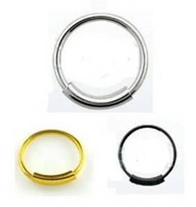 Nose Hoop Ring Earring - STERLING SILVER - Thin 0.6mm - Silver Black Gold Plated
