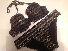 Victorias Secret Swimwear 38B,M Push Up Demi Foldover Bikini Black Gold NWT