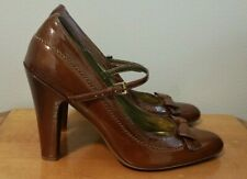 """Linea Paolo Brown Leather Mary Jane Pumps with 4.5"""" Heel, Bow, Size 8 M"""