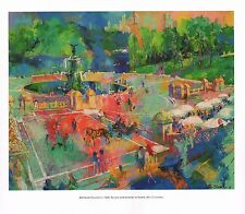 "LEROY NEIMAN BOOK PRINT ""BETHESDA FOUNTAIN"" NEW YORK CENTRAL PARK ICON 1989"