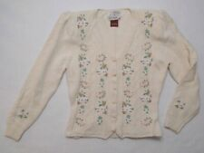 Vintage Susan Bristol Petite Hand Embroidered Sweater with Shoulder Pads 1990
