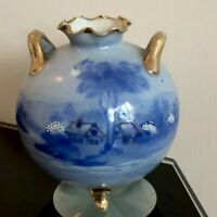 Antique Hand Painted Art Porcelain Country Scenes Urn Vase Mixed Blue and Gilt