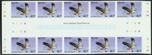 Nevis 1985 Hawk 40c imperf proof gutter block of ten