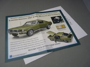 BROCHURE ONLY(NO CAR)-1/24-DANBURY MINT-LTD ED 1967 FORD MUSTANG GT FASTBACK