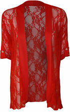 Womens Plus Size Ladies Lace Button Open Cardigan Short Sleeve14 - 28 Red 22-24