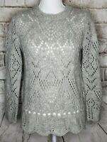 Ann Taylor LOFT Sweater Long Sleeve Chunky Open Knit Wool Blend Gray Small EUC