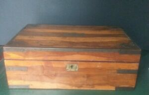 Antique Victorian Traveling Table Top Lap Desk W/ Brass Fittings & Glass Inks