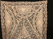 "Rare! Antique Hand Embroidery Batiste & Tambour on Net Lace Large Runner 46""L"