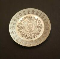Dollhouse miniature vintage sterling silver Late Gothic Period plate,  1:12