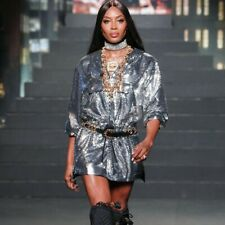 BNWT MOSCHINO H&M Naomi Campbell Silver Sequins Embroidered Hooded Dress