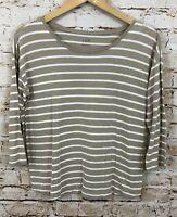 J Jill shirt Womens small beige striped 3/4 sleeve top B5