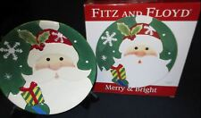 Fitz and Floyd Merry & Bright 3D Santa Christmas Plate Boxed # 29-101