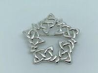 Gorgeous Designer FUSION Vintage Sterling Silver Celtic Knot Star Brooch