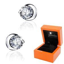 Zirkonia Halbmond Sichel Ohrstecker aus 925 Silber + Luxus LED Schmuckbox